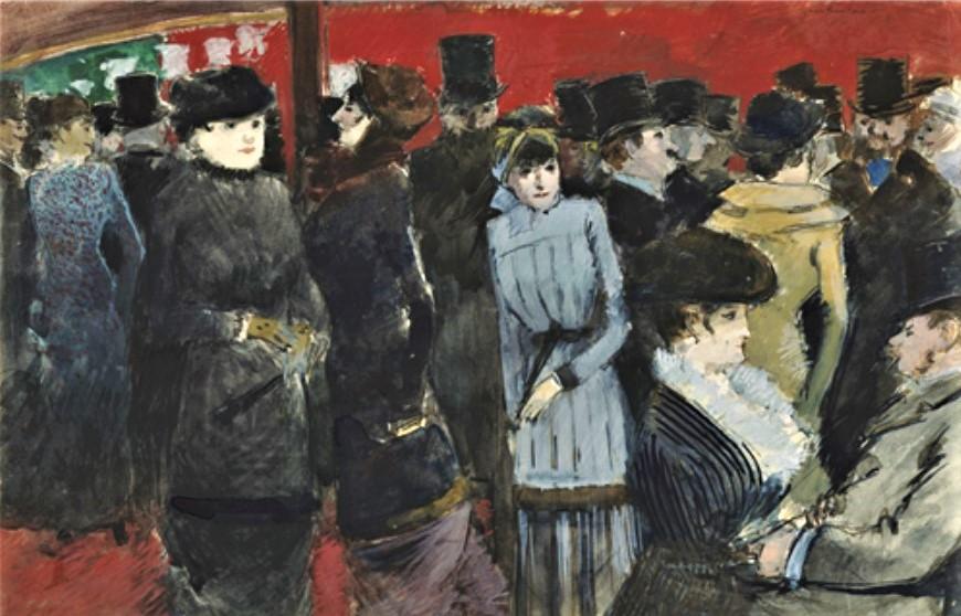 Jean-Louis Forain, 4IE-1879-92, Pourtour des Folies-Bergère (aquarelle). Maybe: 1878ca, Crowd at the Folies-Bergère, wc+g, 21x33, WA Hartford (M162;R2,p268;R90I,p210/1)