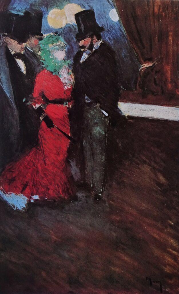 Jean-Louis Forain, 4IE-1879-93, Entr'acte (aquarelle). Maybe?: 1877, la rencontre au foyer (entre-acte), 34x22, private London (R50,p79;R2,p268)