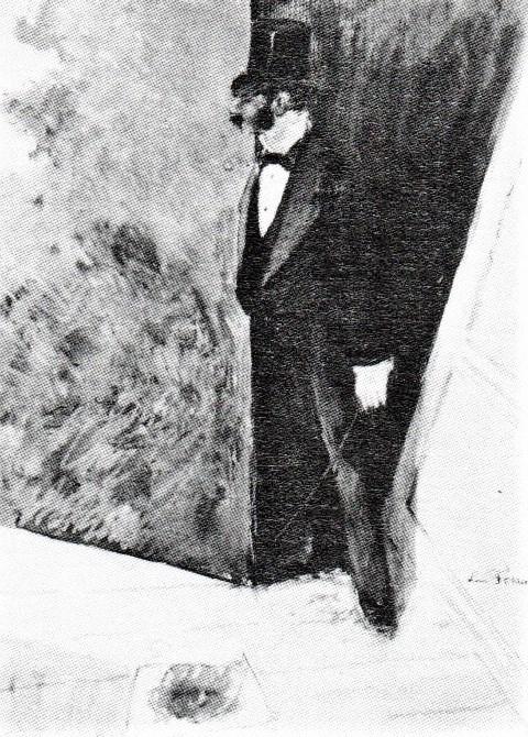 Jean-Louis Forain, 4IE-1879-94, Coulisses de théâtre (aquarelle). Now: 18xx, Le protecteur dans les coulisses, ink and gouache, 32x24, A1966/12/07 (R90II,p113;iR14;R2,p268)