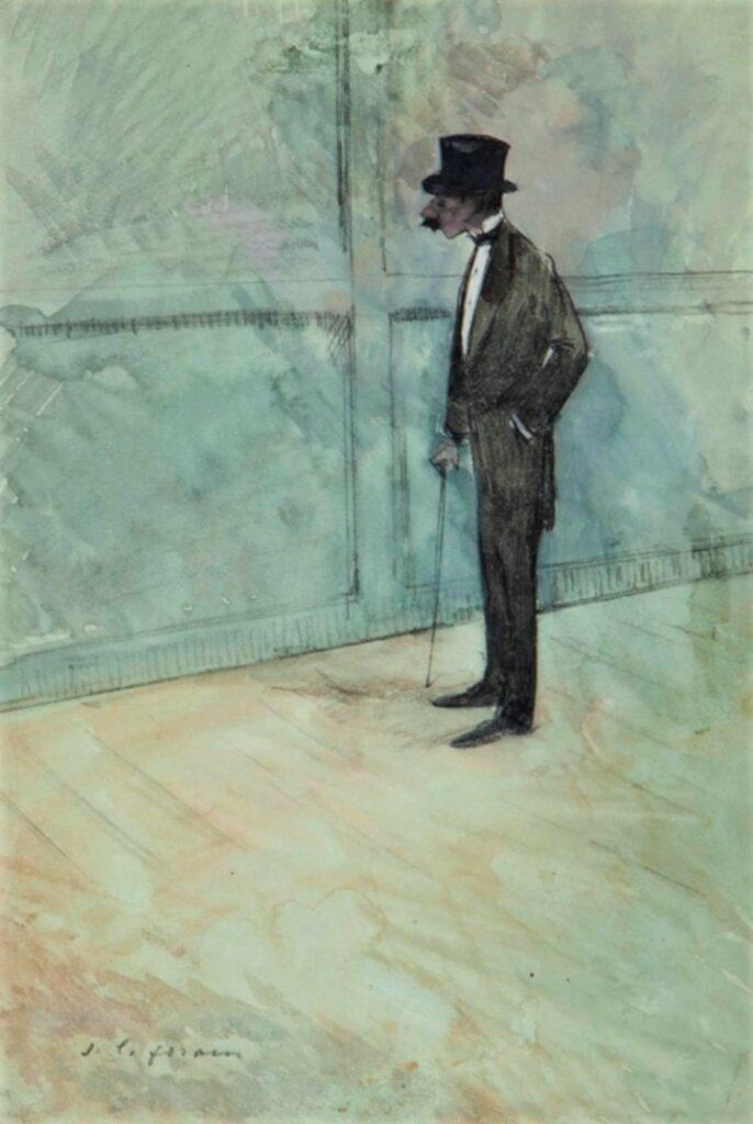 Jean-Louis Forain, 4IE-1879-95,Coulisses de théâtre (aquarelle). Maybe?: 18xx, L'homme en costume, wc+g, 25x19, A2014/04/02 (iR15;R2,p268)