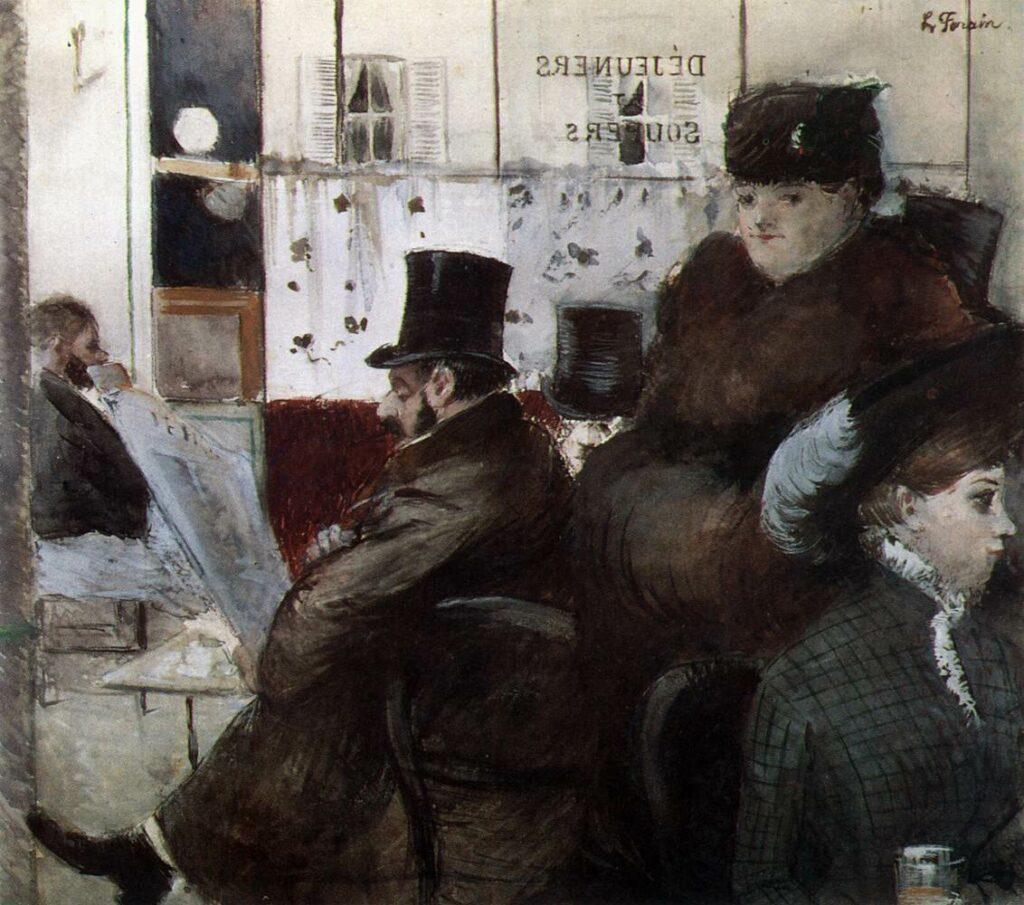 Jean-Louis Forain, 5IE-1880-50, Dessin. Maybe: 1879, Au café de la Nouvelle-Athènes, wc, 35x39, DAG Louvre (iR10;R2,p311;R90II,p149;R3,p211;M5a)