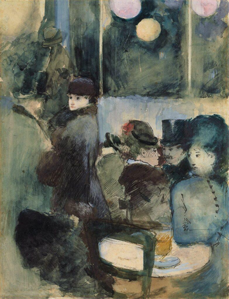 Jean-Louis Forain, 4IE-1879-96, Café d'acteurs (aquarelle). Maybe?: 18xx, Au café, gouache, 34x26, A2021/03/01 (iR10;iR15;iR11;R2,p268)