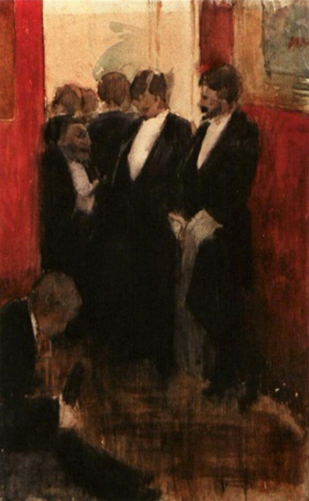 Jean-Louis Forain, 4IE-1879-98, Coin de salon (aquarelle). Maybe: 1879ca, Conservation dans le salon de Georges Charpentier, wc, 31x19, A2008/11/14 (iR13;R90II,p113;R2,p268)