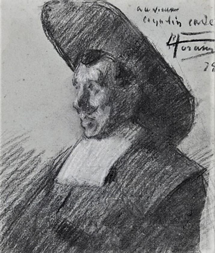 Jean-Louis Forain, 4IE-1879-99, Cabotin en demi-deuil; appartient à M. Coquelin (aquarelle). Compare: 1878, Portrait of the actor C. B. Coquelin in costume, dr, 27x22, A2013/04/20 (iR13;M2,p268). Also option for no.83, Portrait de M. Coquelin Cadet, dans le Sphinx.