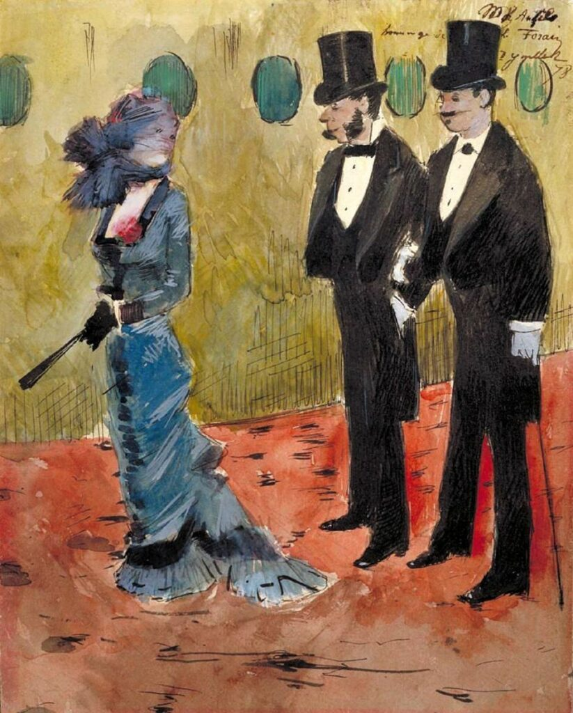 Jean-Louis Forain, 5IE-1880-48, Dessin. Maybe?: 1878, At the Theater, wc, 28x22, xx (iR10;iR99;R2,p311;R90II,p149)