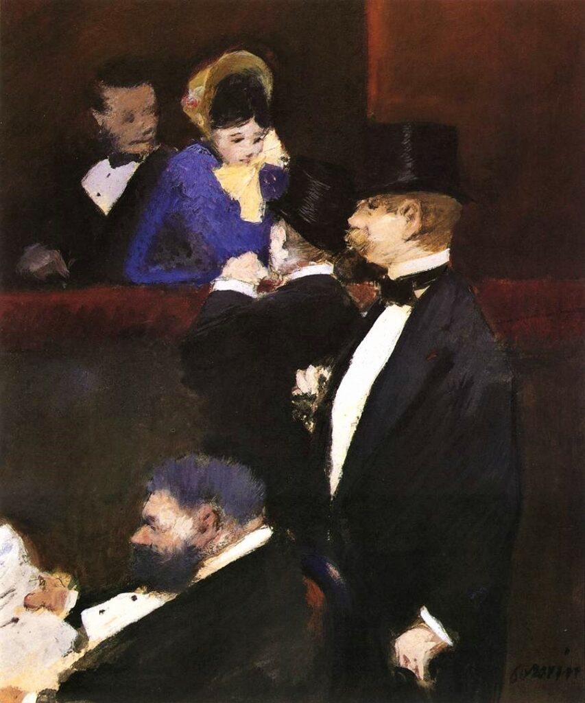 Jean-Louis Forain, 5IE-1880-49, Dessin. Maybe?: 1880, A Box at the Opéra, gouache+oil, 32x26, Harvard Cambridge (iR10;iR104;R89,no98;R2,p311;R90II,p149;M32)