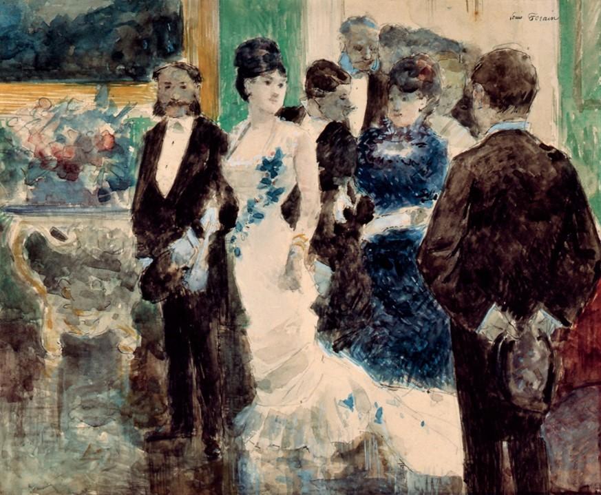 Jean-Louis Forain, 6IE-1881-23, Couloir de théâtre. Compare: 1878ca, Soirée Parisienne, gouache, 25x32, DGG Memphis (iR8;R2,p354;M160)