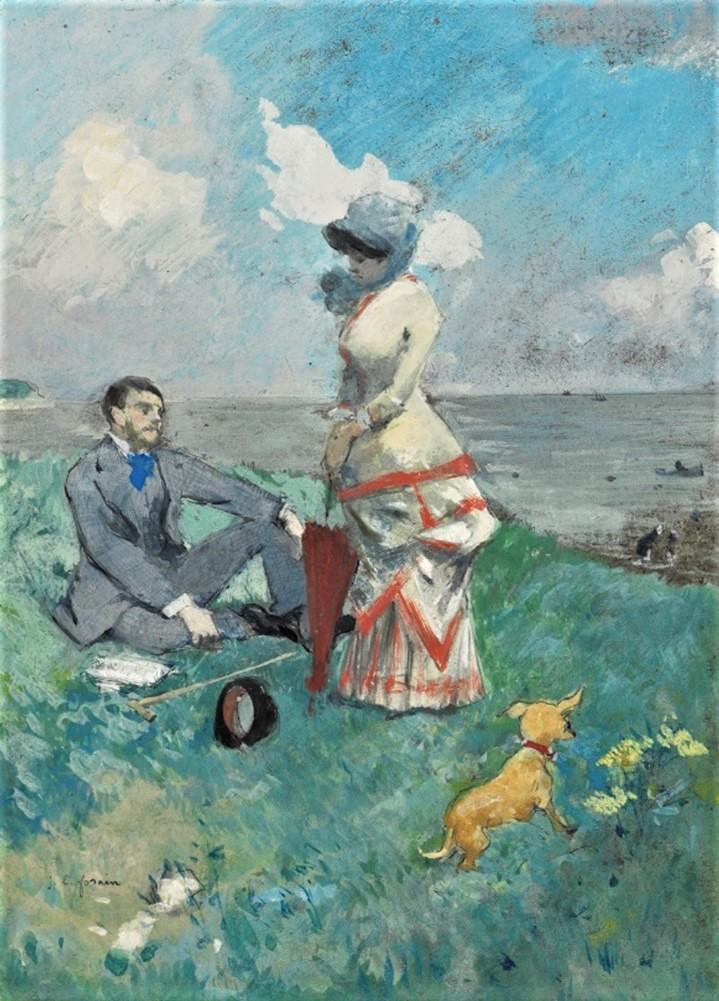 Jean-Louis Forain, 6IE-1881-24, Marine. Compare: 1885ca, By the sea, gouache, 25x18, A2020/06/03 (iR15;R2,p354) =G Charpentier A1907/04/11-40