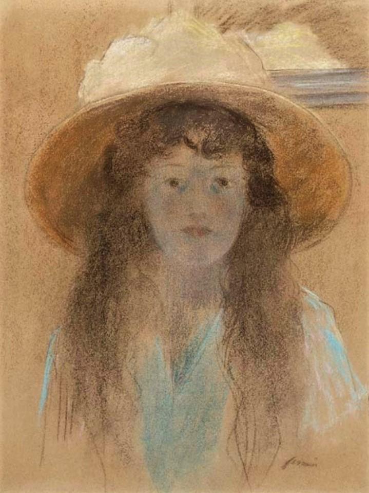 Jean-Louis Forain, 6IE-1881-25, Portrait de Mlle Madeleine C…, pastel. Very uncertain: 18xx, Girl with hat, pastel, 60x45, A2016/10/21 (iR15;R2,p354)
