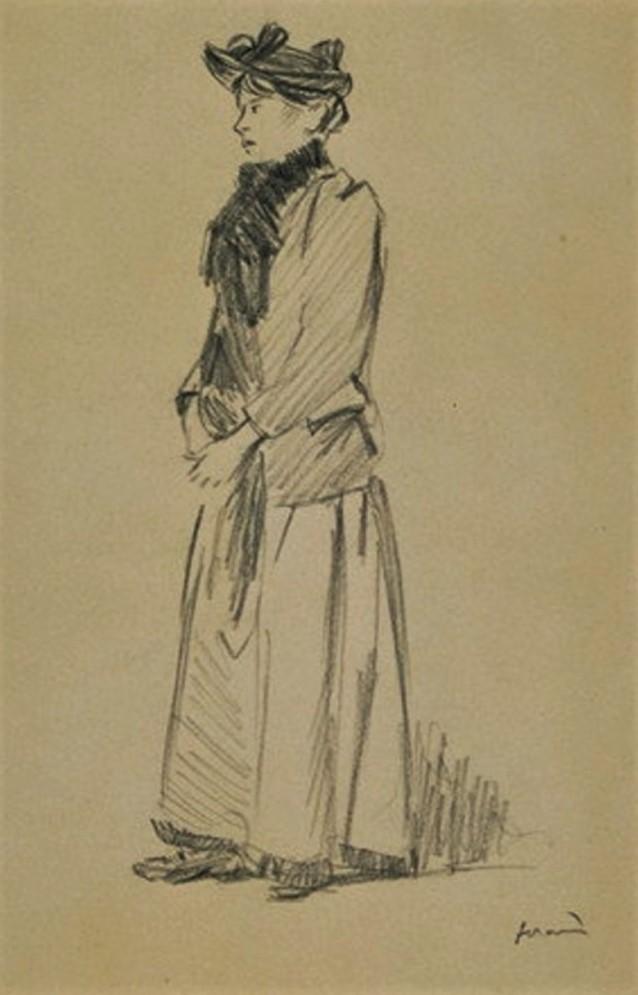 Jean-Louis Forain, 6IE-1881-26, dessin. Very uncertain: 18xx, Femme debout, de trois quarts à gauche, portant un chapeau plat, dr, 40x26, DAG Louvre (M5a,RF24304,R;R2,p354)