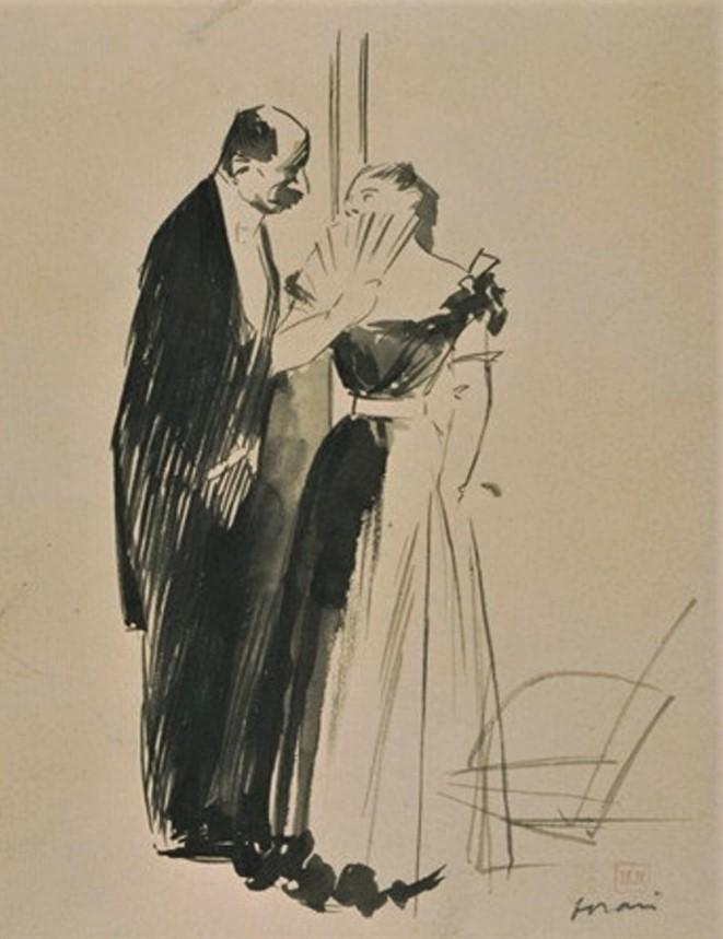 Jean-Louis Forain, 6IE-1881-27, dessin. Very uncertain: 18xx, Homme en habit noir conversant avec une femme en robe de soirée, dr, 28x22, DAG Louvre (M5a,RF23411,R;R2,p354)