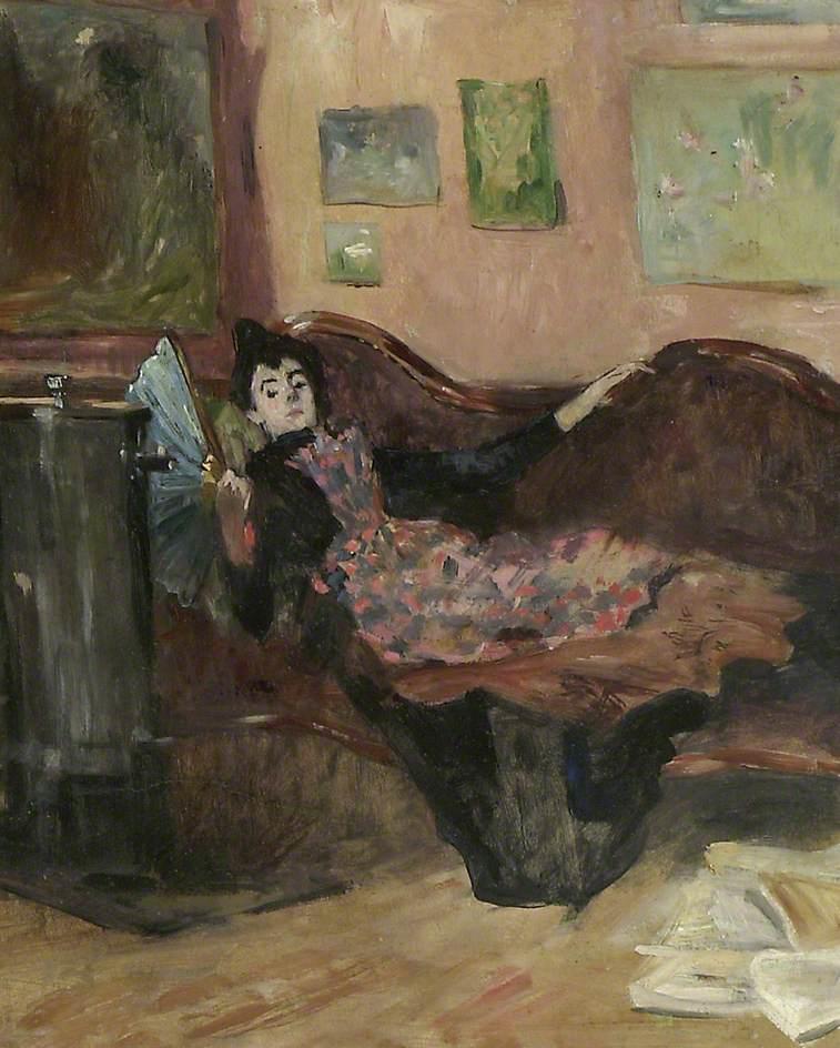 Jean-Louis Forain, 8IE-1886-31, Portrait de Mme W. Compare: 1880ca, Woman on a Chaise-longue, 41x34, AMAA Oxford (iR2;iR64;R2,p444)