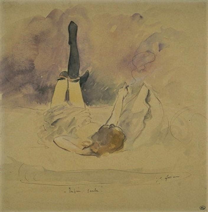 Jean-Louis Forain, 8IE-1886-34, Femme fumant une cigarette. Very uncertain: 18xx, enfin seul !, ink+wc, 23x22, DAG Louvre (M5a,RF3004R;R2,p444)