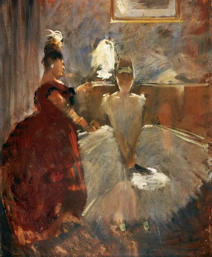 Jean-Louis Forain, 8IE-1886-37, Jeune fille au bal. Probably: 1886, jeune fille s'habillant (young girl dressing herself), 40x33, A2006/06/11 (iR11;iR14;iR2;R2,p444;R90I)