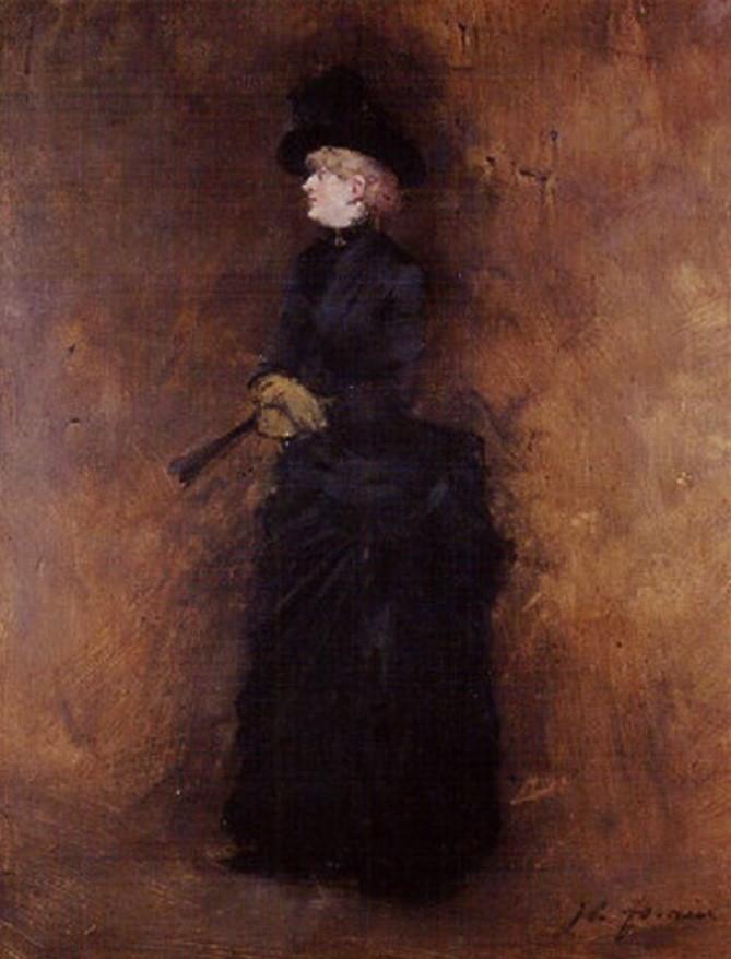 Jean-Louis Forain, 8IE-1886-38, Femme en noir. Maybe?: 18xx, Woman in black with fan, oil on panel, 35x46, A2000/12/10 (iR13;R2,p444)