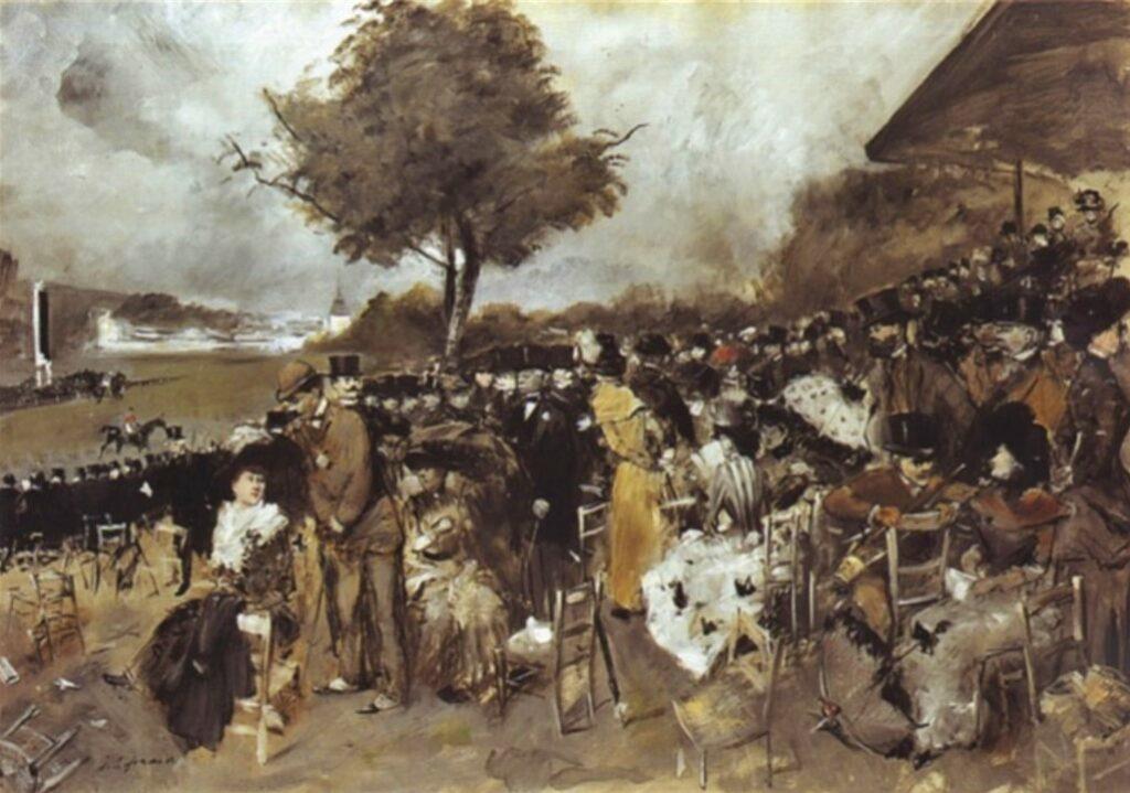 Jean-Louis Forain, 8IE-1886-39, Souvenir de Chantilly (esquisse en grisaille). Compare: 1885-90, The course à Chantilly, 65x92, A2004/06/12 (iR13;iR10;R2,p444;R90I)