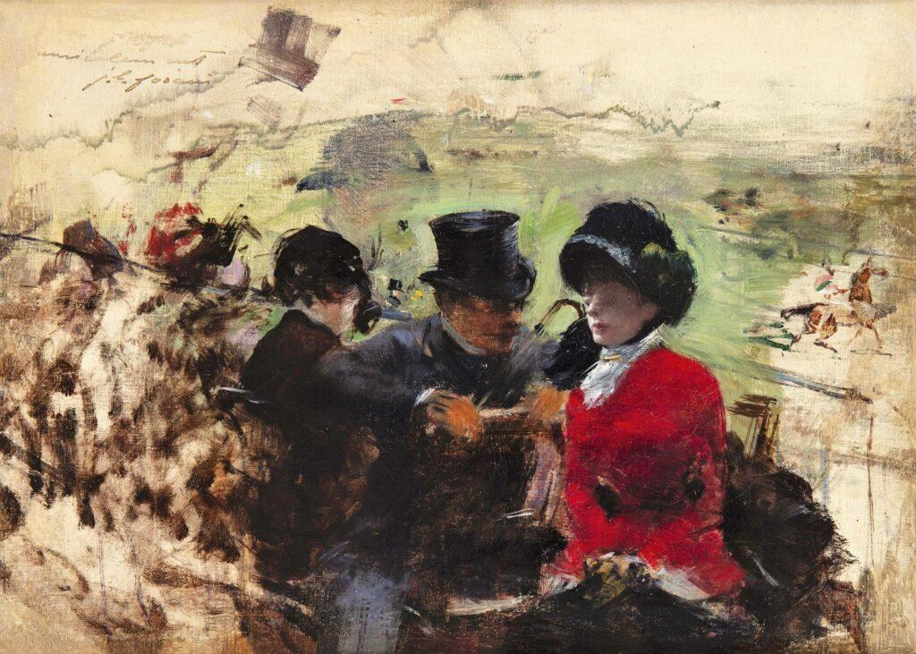 Jean-Louis Forain, 8IE-1886-39, Souvenir de Chantilly (esquisse en grisaille). Compare: 1885ca, Aux Courses, 27x38, private (iR10;aR7;R2,p444)