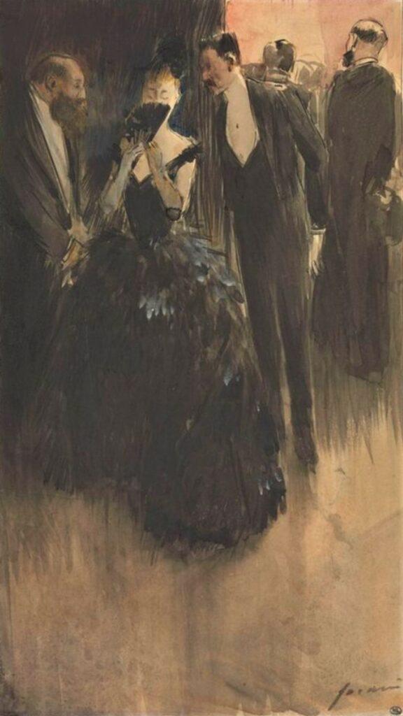 Jean-Louis Forain, 6IE-1886-40, Un coin à l'Opéra (dessin àl'encre de Chine). Maybe: 18xx, Entrée dans le monde, encre de Chine+gouache+wc, 37x21, DAG Louvre (M5a,RF10752R;iR23;R2,p444)