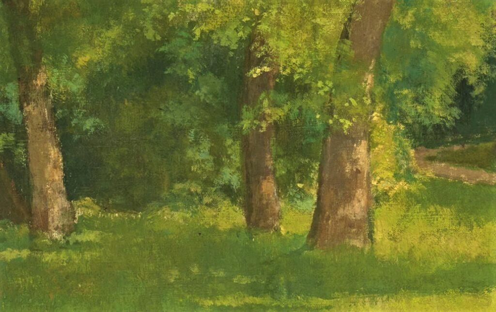 Henri Rouart, 1880-90ca, Élégante au parc (detail), on panel, 73x92, A2020/06/04 (iR15;iR6)
