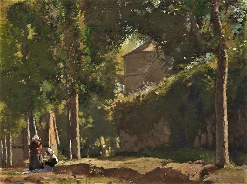 Henri Rouart, 1885ca, Sbr, Landscape with Farm, Brittany (detail), 66x92, Gallery London (iR13)