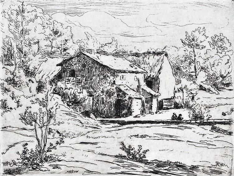 Henri Rouart, 18xx, xx (Farm, hillside, field) etch, xx, Nm Warsaw (aR20). Compare: 1IE-1874-153, Route bretonne; 154, idem (aquarelle); 155+156, Maisons béarnaises , aquarelle; 157+158, Eau-forte.