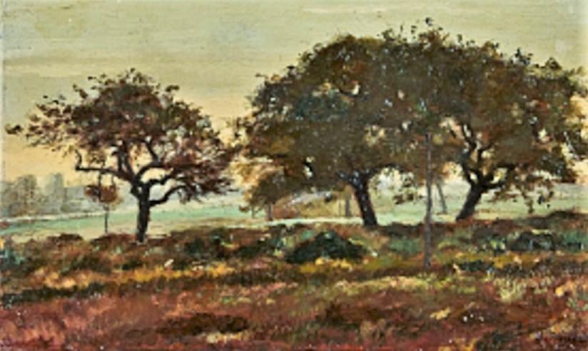 Henri Rouart, 18xx, Sbr, The apple trees at La Queue-en-Brie (Chemin de la Pompe), 21x35, A2020/12/19 (aR38;iR11;iR10;R2,p122). Compare: 1IE-1874-153, Route bretonne.