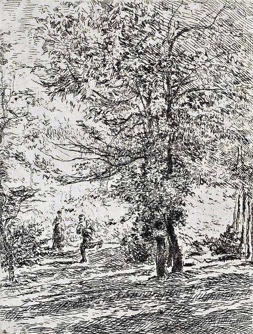 Henri Rouart, 18xx, xx (Two people in a wood), etch, xx, Nm Warsaw (aR20;R2,p122). Maybe: 1IE-1874-157+158, Eau-forte
