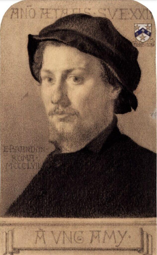 Edouard Brandon, 1IE-1874-30, Portrait de M. A.Z. (dessin) =? S1867-1657, Portrait de M. A. Z.; dessin. Compare: 1858, William Eden Nesfield, dr+gouach, 22x14, NPG London (M180;iR1;R2,p119).