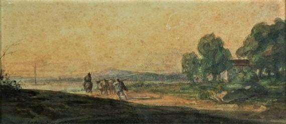 Edouard Brandon, 1IE-1874-31-1, Aquarelles. Maybe??: 1855, Paysage de bord de lac animé (or: Animals going to the lake of Tiberias; or: Leaving for the fields), wc, 12x26, A2018/05/18 (iR11;iR13;iR1;R2,p119)