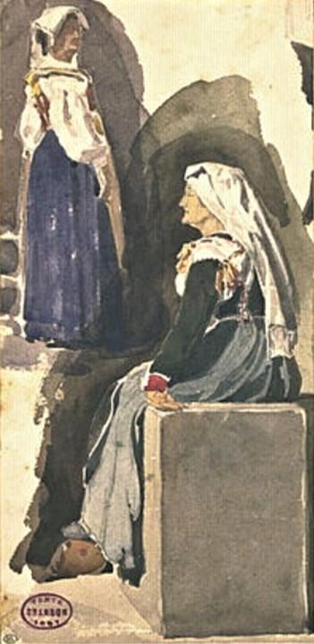 Edouard Brandon, 1IE-1874-31-6, Aquarelles. Maybe??: 1856-63 (18xx), Two Roman peasant women, wc, 28x14, DAG Louvre (iR23;M5a;iR1;R2,p119). Maybe also: S1870-3144, Quinze aquarelles; même numéro: Souvenirs d'Italie.