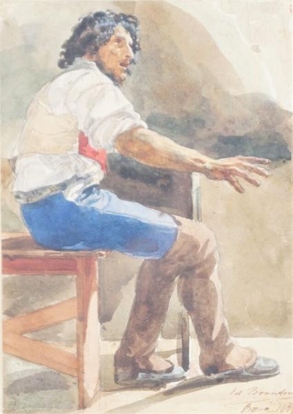 Edouard Brandon, 1IE-1874-31-4, Aquarelles. Maybe??: 1858, Campagnard italien attablé, wc, 17x12, A2020/07/25 (iR10;iR255;iR1;R2,p119). Maybe also: S1870-3144, Quinze aquarelles; même numéro: Souvenirs d'Italie.