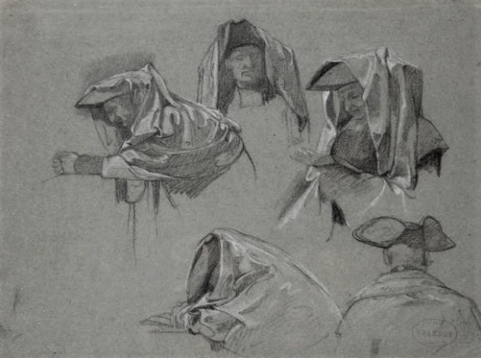 Edouard Brandon, 1IE-1874-32, Exposition du corps de Sainte-Brigitte à Rome, en 1392 (carton fusain). Compare: 18xx, untitled study, dr, 19x25, A2011/03/23 (iR13;iR1;R2,p119). Compare: S1861-403, etc.
