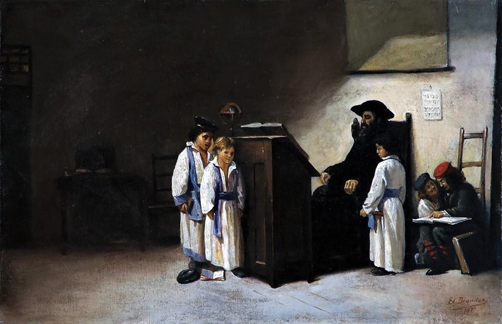 Edouard Brandon, 1IE-1874-32bis, Le maître d'école. Compare: 1872, Torah lesson, 36x57, A2018/06/23 (iR11;iR13;R2,p119;iR1)