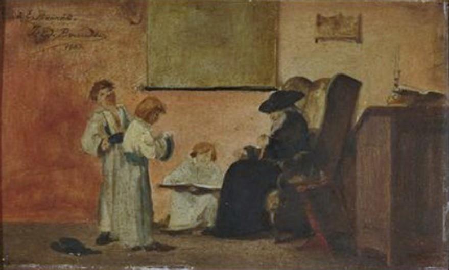 Edouard Brandon, 1IE-1874-32bis, Le maître d'école. Compare: 1883, Le Rabbin et ses élèves dans l'école juive, 14x23, A2018/04/21 (iR87;iR11;iR13;iR10;R2,p119;iR1)
