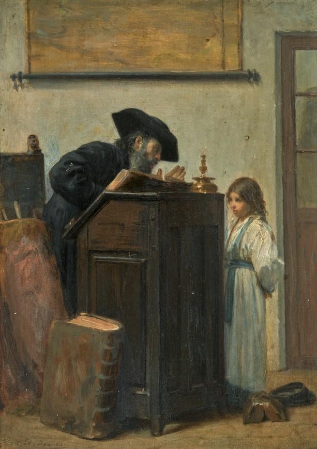Edouard Brandon, 1IE-1874-32bis, Le maître d'école. Compare: 18xx, Teacher and young student, op panel, 23x18, A2019/06/05 (iR14;R2,p119;iR1)