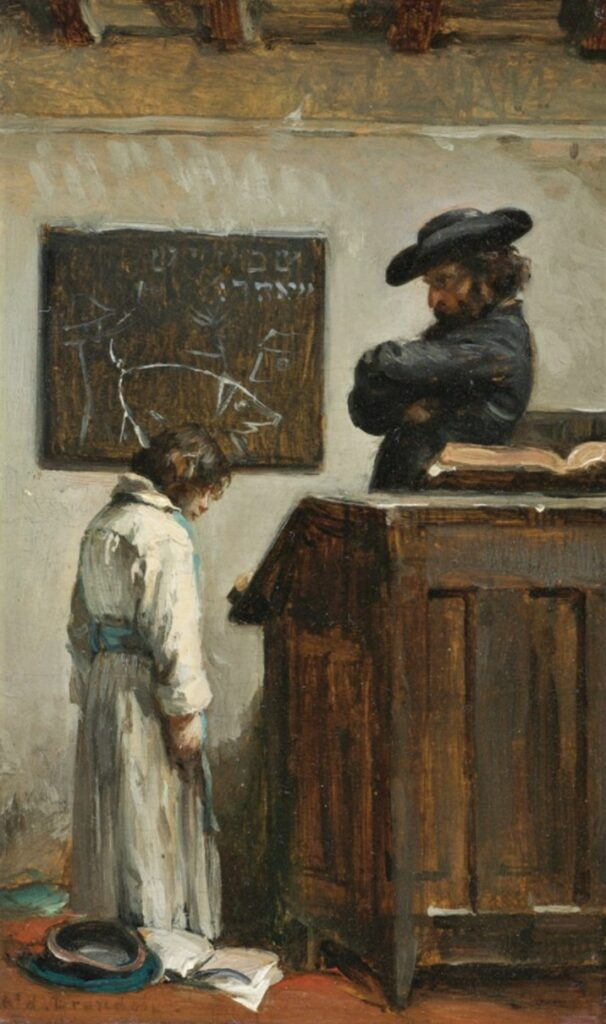 Edouard Brandon, 1IE-1874-32bis, Le maître d'école. Compare: 18xx, The master and the pupil, on panel, 15x8, A2011/12/14 (iR14;iR11;iR1;R2,p119). Former Degas collection.
