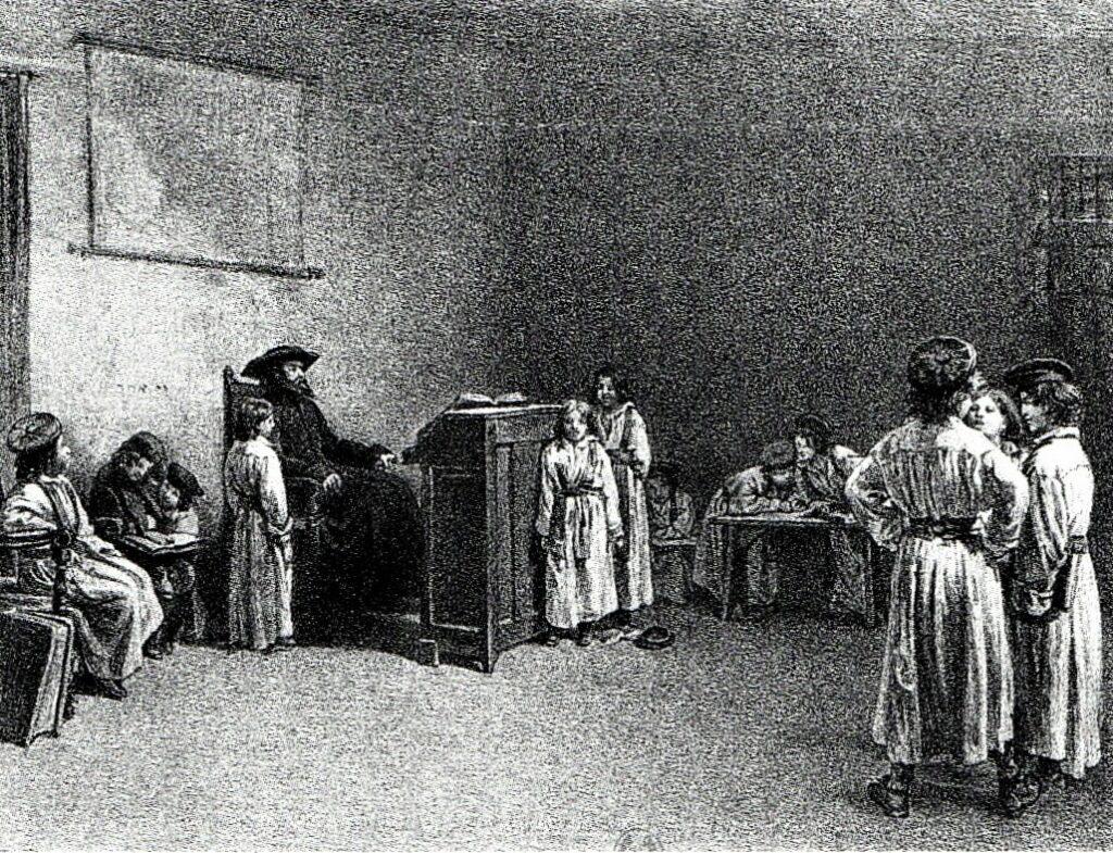 Edouard Brandon, 1IE-1874-32bis, Le maître d'école. Compare: Vernier, 1874ca, The examination, etch, 16x21, BNF Paris (R89,p42;R87,p232;R90II,p20+6;R2,p119;iR1;iR26). Compare: S1870-369, L'examen.