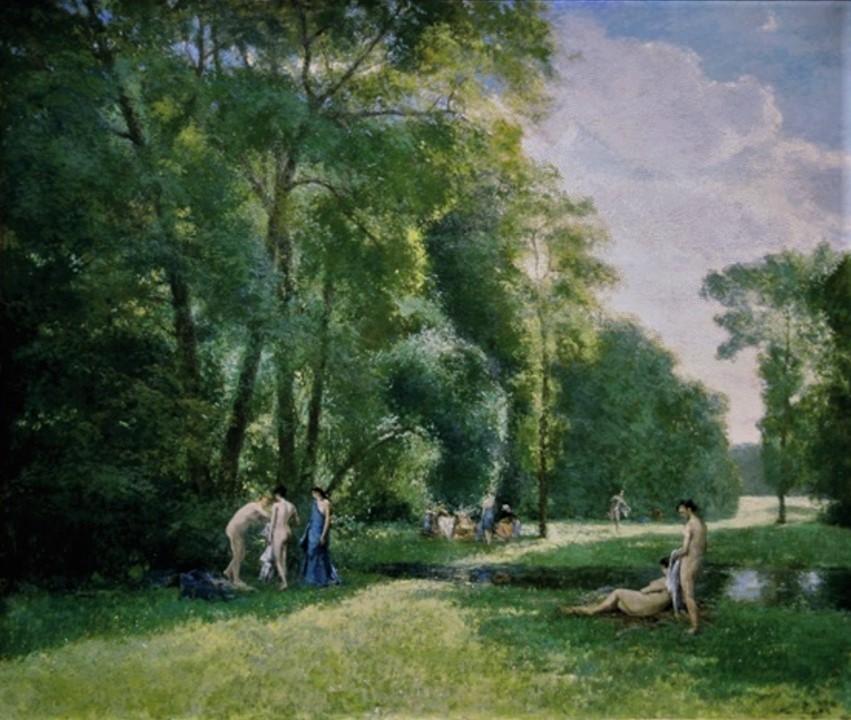 Henri Rouart, 1876ca, Lisière de Bois (Landscape with Bathers), 151x181, Gallery London (iR13;aR4;iR134). Maybe: 2IE-1876-230, Bords de l'Indre.