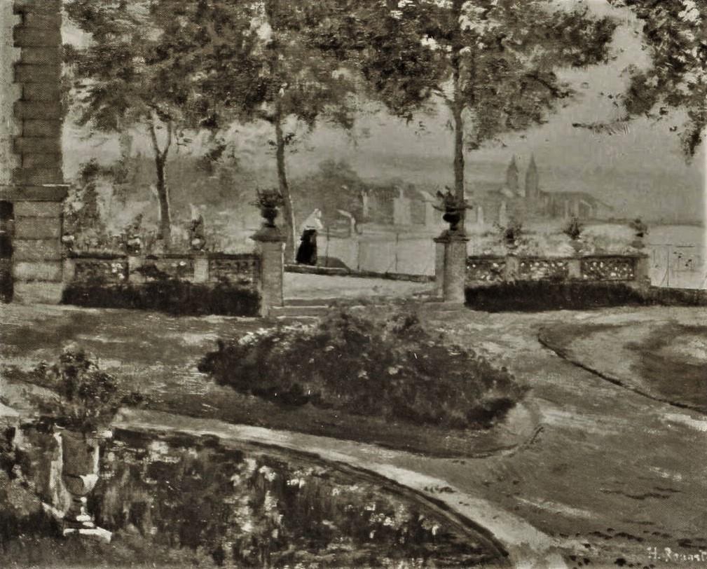 Henri Rouart, 1861-96ca, View on Melun, etch after painting, ?cm, A1912/12/09-hc (aR10,p136++). Option for: 1IE-1874-150, Vue de Melun + 2IE-1876-232, Vue de Melun.