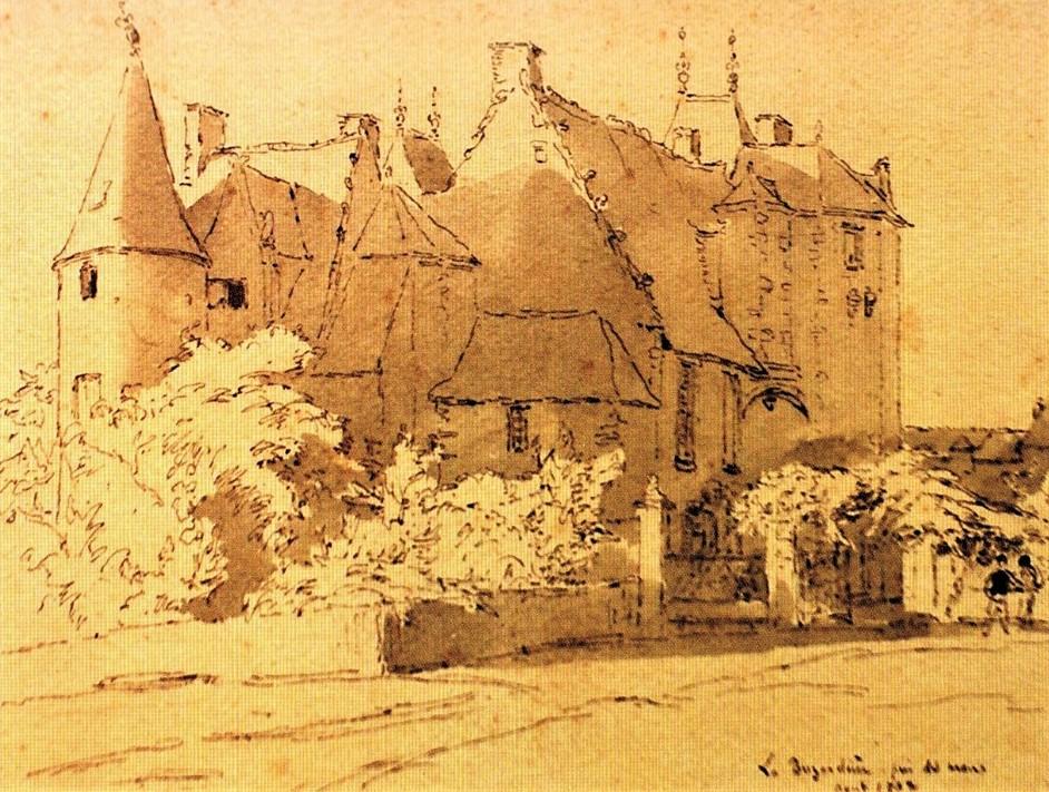 Henri Rouart, 18xx, La Busardière (property of general Mélodion), near Mans, wc, xx, private (R92,p6). Compare: 2IE-1876-235, Dans un parc (sépia); 2IE-1876-234, Manoir de Graffard (Encre de Chine); 4IE-1879-214, Château de Tour-Noël, (dessin); 4IE-1879-217, Château de Chateldon, (dessin).