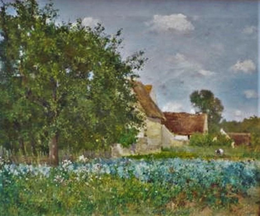 Henri Rouart, 18xx, HR?, Paysage bucolique (rural landscape), 45x54, xx (aR18;aR20). Compare: 3IE-1877-207, Ferme Bretonne + 3IE-1877-210+hc,La ferme.