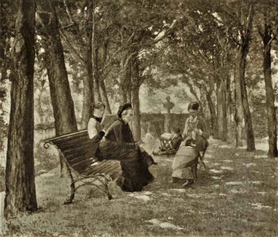 Henri Rouart,1880-85ca, On the Fourneaux terrace at Melun, etch after painting, ?cm, A1912/12/09-hc (aR10,p136+;cpR92,no7). Option for: 3IE-1877-210, Quai des Fourneaux, à Melun.