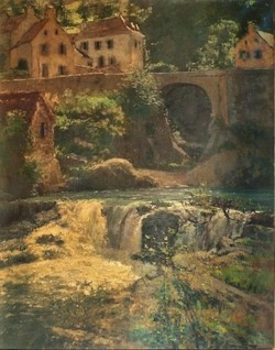 Henri Rouart, 18xx, Waterfall at Royat, 92x76, private (aR21;R92,no41). Compare: 4IE-1879-206, Royat dans son nid + 215, Royat, (dessin). Compare: HD1912/12/09-275.