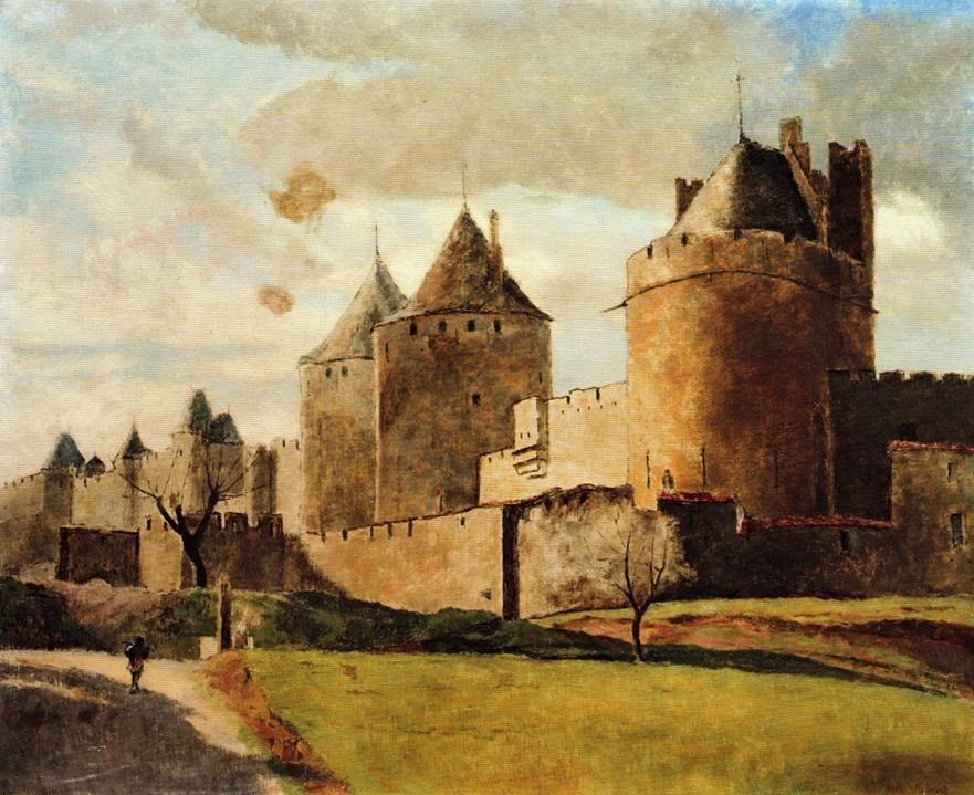 Henri Rouart, 1891ca, Sbr, The fortifications of Carcassonne, 60x73, private (R92,no37). Compare: 4IE-1879-208, Château de Fleury + 214, Château de Tour-Noël, (dessin).