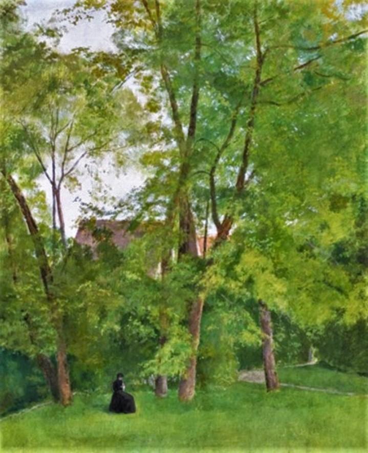 Henri Rouart, 18xx, Sewing lady under the big trees, 73x60, A2020/07/16 (iR13). Compare: 4IE-1879-220, sous les Frênes, (dessin) + 224, Sous les châtaigniers (dessin).