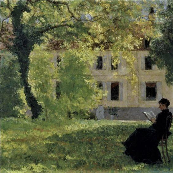 Henri Rouart, 1880ca, Mme Rouart reading in the garden, La Queue-en-Brie, 50x61, xx (iR64). Compare: 4IE-1879-220, sous les Frênes, (dessin) + 224, Sous les châtaigniers (dessin).