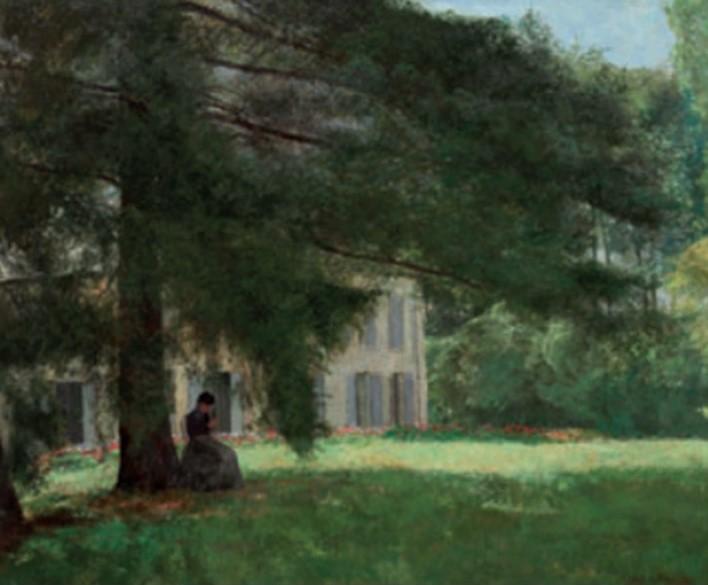 Henri Rouart, 18xx, Sbr, Woman knitting in the garden at La Queue-en-Brie, 50x60, private (iR10;aR28;R92,no23;aR24). Compare: 4IE-1879-220, sous les Frênes, (dessin) + 224, Sous les châtaigniers (dessin).