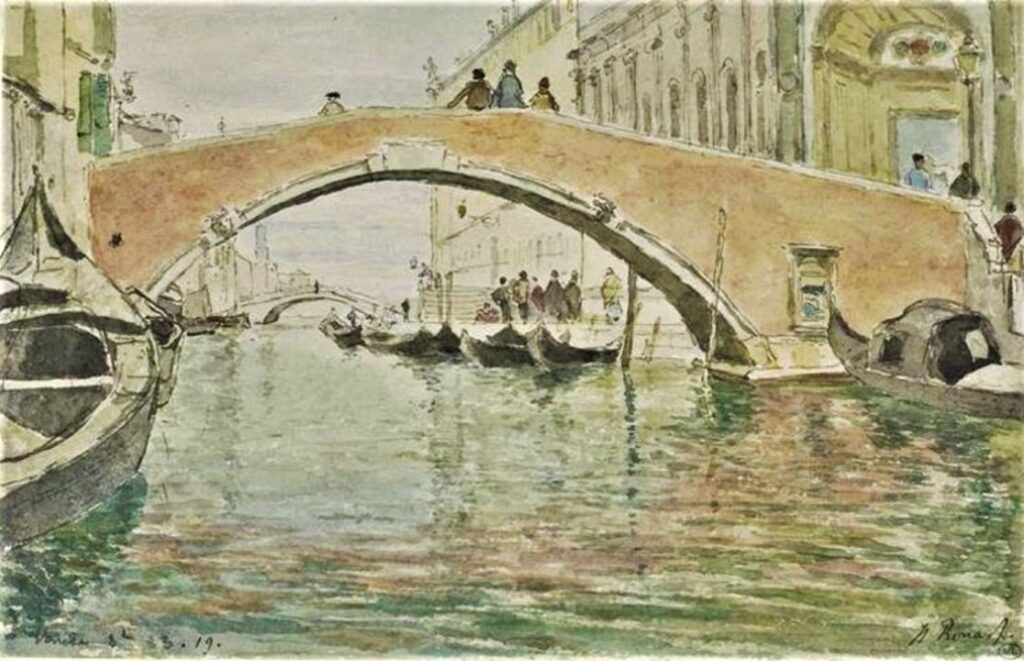 Henri Rouart, 1883, The Canal at Venice, wc, 16x26, DAG Louvre (M5a;iR23). Maybe: 5IE-1880-185-192, Venise (Aquarelle).