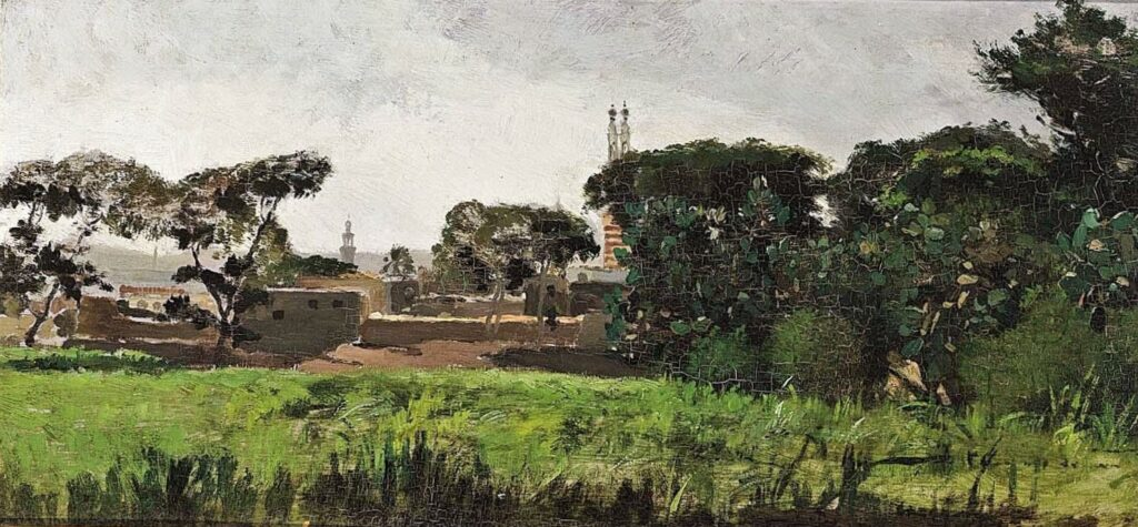 Henri Rouart, 1883(?), A view of a southern town with pine trees, 27x54, A2004/12/21 (aR16;aR18;iR14;iR6). Maybe?: 6IE-1881-130, Près d'Antibes.