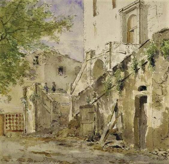 Henri Rouart, 18xx, Escalier du château de Grimaldi à Cagnes (Staircase of the Grimaldi castle in Cagnes), wc, 25x27, Md'Orléans (iR64;aR20;R90II,p187+197;R2,p356). Probably: 6IE-1881-132, Escalier du château des Grimaldi à Cagnes.